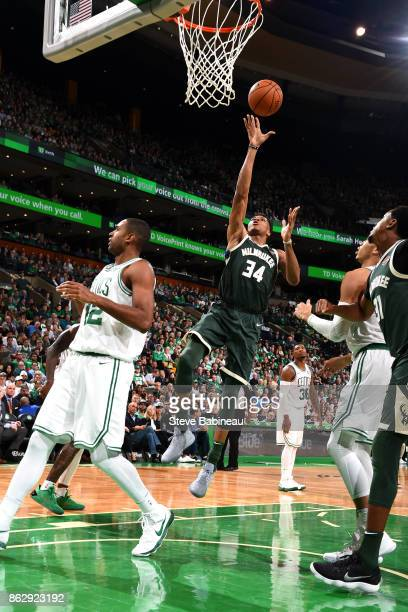 Giannis Antetokounmpo of the Milwaukee Bucks goes to the basket against the Boston Celtics on October 18 2017 at the TD Garden in Boston...