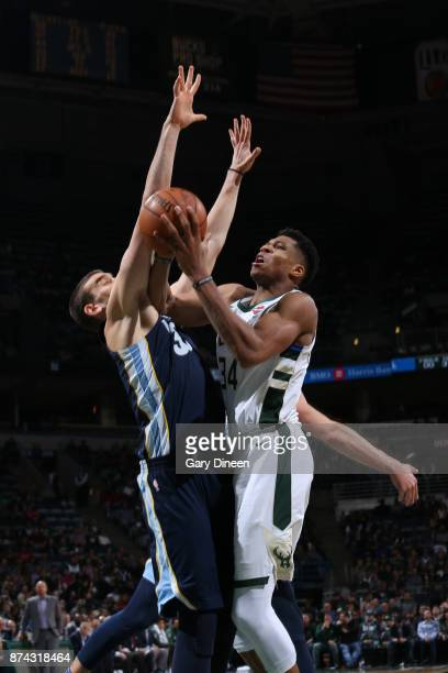 Giannis Antetokounmpo of the Milwaukee Bucks goes to the basket against the Memphis Grizzlies on November 13 2017 at the BMO Harris Bradley Center in...
