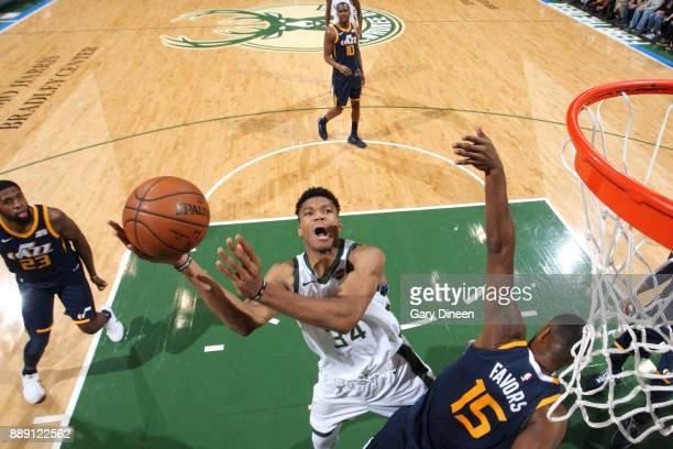 Giannis Antetokounmpo of the Milwaukee Bucks goes to the basket against the Utah Jazz on December 9 2017 at the BMO Harris Bradley Center in...