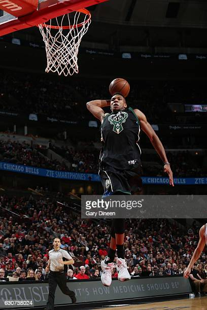 Giannis Antetokounmpo of the Milwaukee Bucks goes up for a dunk during a game against the Chicago Bulls on December 31 2016 at the United Center in...