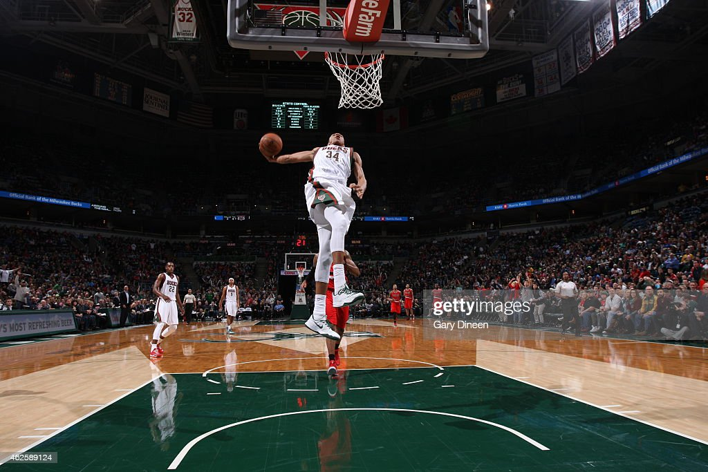 Giannis Antetokounmpo of the Milwaukee Bucks goes up for a dunk against the Portland Trail Blazers on January 31 2015 at BMO Harris Bradley Center in...