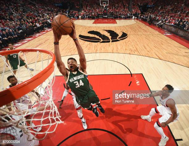 Giannis Antetokounmpo of the Milwaukee Bucks goes up for a dunk against the Toronto Raptors during Game Two of the Eastern Conference Quarterfinals...