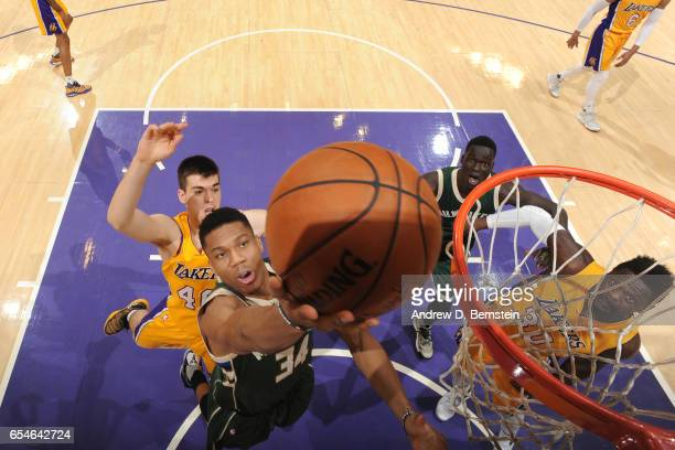 Giannis Antetokounmpo of the Milwaukee Bucks goes up for a lay up against the Los Angeles Lakers on March 17 2017 at STAPLES Center in Los Angeles...