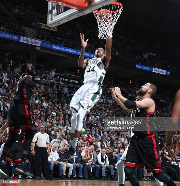 Giannis Antetokounmpo of the Milwaukee Bucks goes up for a lay up against the Toronto Raptors during Game Six of the Eastern Conference Quarterfinals...