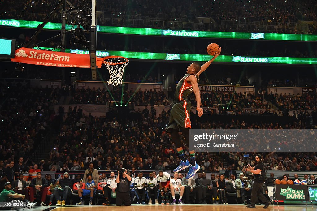 Giannis Antetokounmpo of the Milwaukee Bucks goes up for the slamdunk during the Sprite Slam Dunk Contest on State Farm AllStar Saturday Night as...
