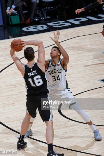 Giannis Antetokounmpo of the Milwaukee Bucks guards Pau Gasol of the San Antonio Spurs on November 10 2017 at the ATT Center in San Antonio Texas...