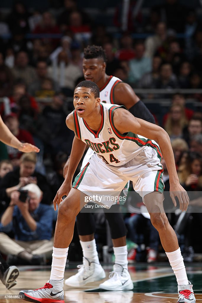 Giannis Antetokounmpo #34 of the Milwaukee Bucks guards the postition against the Utah Jazz on March 3, 2014 at the BMO Harris Bradley Center in Milwaukee, Wisconsin.