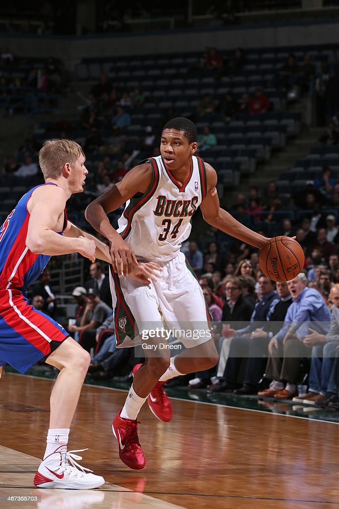 <a gi-track='captionPersonalityLinkClicked' href=/galleries/search?phrase=Giannis+Antetokounmpo&family=editorial&specificpeople=11078379 ng-click='$event.stopPropagation()'>Giannis Antetokounmpo</a> #34 of the Milwaukee Bucks handles the ball against the Detroit Pistons on December 4, 2013 at the BMO Harris Bradley Center in Milwaukee, Wisconsin.