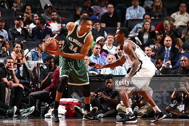 Giannis Antetokounmpo of the Milwaukee Bucks handles the ball against the Brooklyn Nets during the game on November 2 2015 at Barclays Center in...