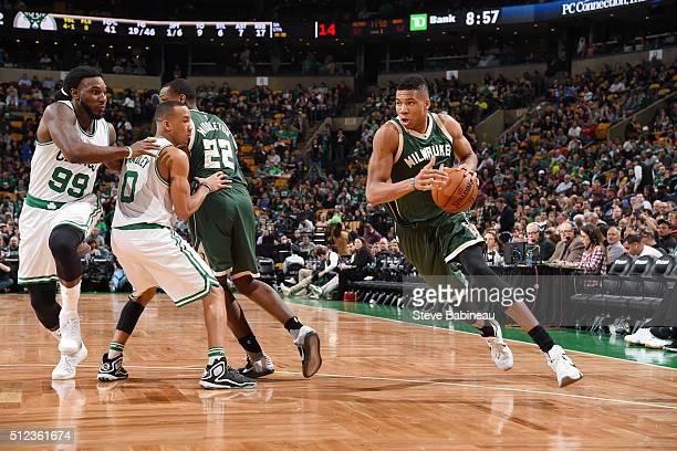 Giannis Antetokounmpo of the Milwaukee Bucks handles the ball against the Boston Celtics on February 25 2016 at the TD Garden in Boston Massachusetts...