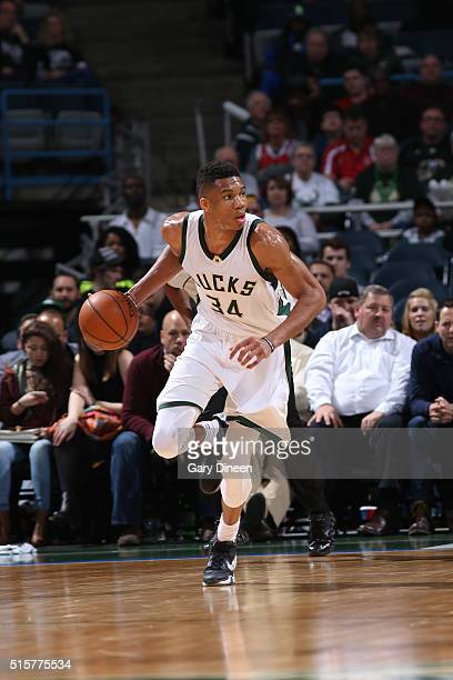 Giannis Antetokounmpo of the Milwaukee Bucks handles the ball against the Toronto Raptors on March 15 2016 at the BMO Harris Bradley Center in...
