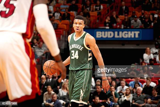 Giannis Antetokounmpo of the Milwaukee Bucks handles the ball against the Miami Heat on November 17 2016 at American Airlines Arena in Miami Florida...