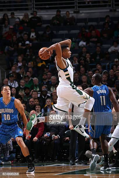 Giannis Antetokounmpo of the Milwaukee Bucks handles the ball against the Orlando Magic on November 21 2016 at the BMO Harris Bradley Center in...
