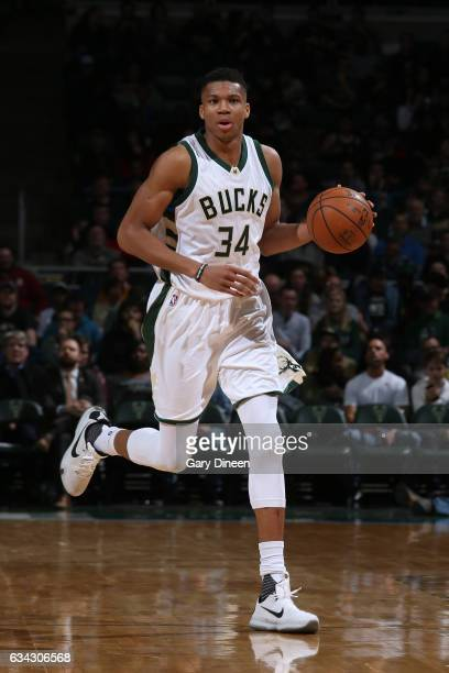 Giannis Antetokounmpo of the Milwaukee Bucks handles the ball against the Miami Heat on February 8 2017 at the BMO Harris Bradley Center in Milwaukee...