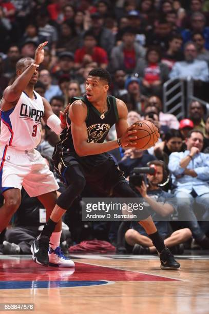 Giannis Antetokounmpo of the Milwaukee Bucks handles the ball against the LA Clippers on March 15 2017 at STAPLES Center in Los Angeles California...