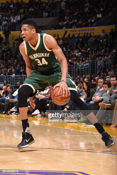 Giannis Antetokounmpo of the Milwaukee Bucks handles the ball against the Los Angeles Lakers on March 17 2017 at STAPLES Center in Los Angeles...