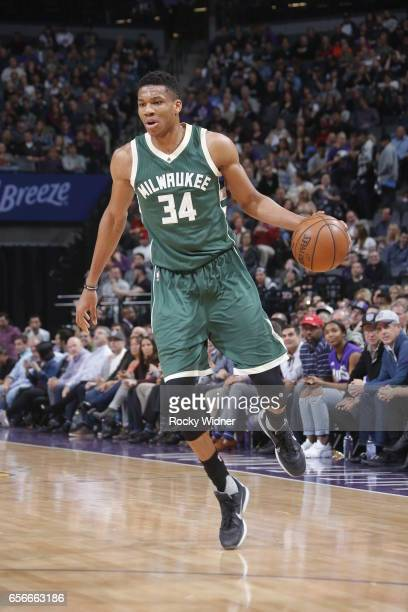 Giannis Antetokounmpo of the Milwaukee Bucks handles the ball against the Sacramento Kings on March 22 2017 at Golden 1 Center in Sacramento...