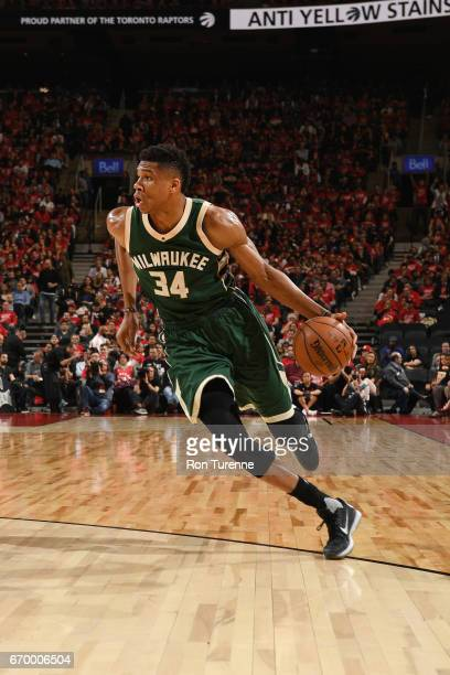 Giannis Antetokounmpo of the Milwaukee Bucks handles the ball against the Toronto Raptors during Game Two of the Eastern Conference Quarterfinals of...