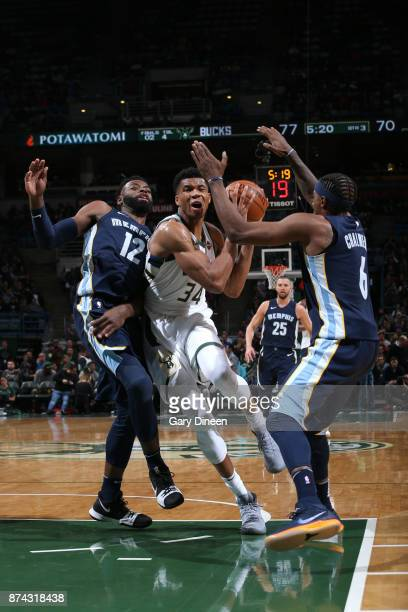 Giannis Antetokounmpo of the Milwaukee Bucks handles the ball against the Memphis Grizzlies on November 13 2017 at the BMO Harris Bradley Center in...