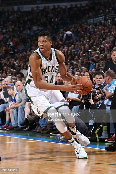 Giannis Antetokounmpo of the Milwaukee Bucks handles the ball during the game against the Golden State Warriors on December 12 2015 at the BMO Harris...