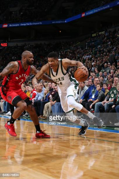 Giannis Antetokounmpo of the Milwaukee Bucks handles the ball during a game against the Toronto Raptors on March 4 2017 at BMO Harris Bradley Center...