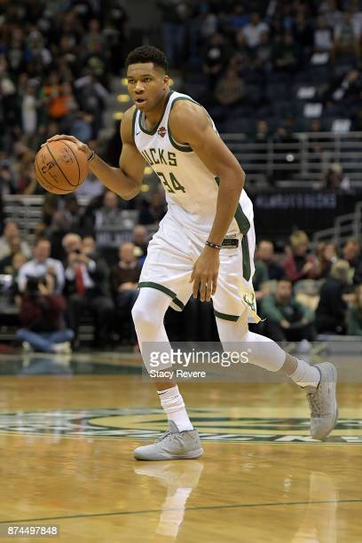 Giannis Antetokounmpo of the Milwaukee Bucks handles the ball during a game against the Memphis Grizzlies at the Bradley Center on November 13 2017...