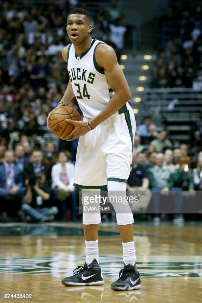 Giannis Antetokounmpo of the Milwaukee Bucks handles the ball in the second quarter in Game Six of the Eastern Conference Quarterfinals against the...