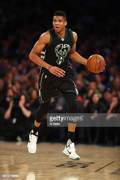 Giannis Antetokounmpo of the Milwaukee Bucks in action against the New York Knicks during their game at Madison Square Garden on January 4 2017 in...