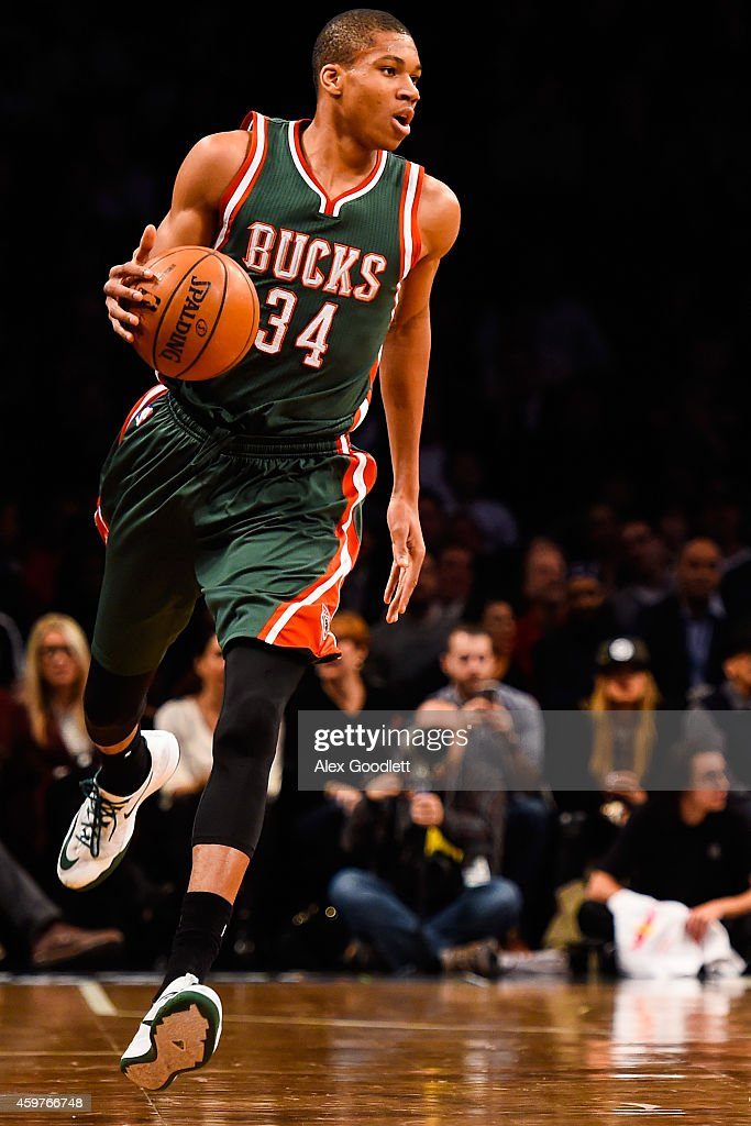 Giannis Antetokounmpo of the Milwaukee Bucks in action during a game against the Brooklyn Nets at the Barclays Center on November 19 2014 in the...