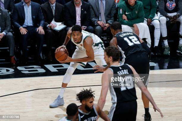 Giannis Antetokounmpo of the Milwaukee Bucks is guarded by LaMarcus Aldridge of the San Antonio Spurs on November 10 2017 at the ATT Center in San...