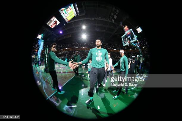 Giannis Antetokounmpo of the Milwaukee Bucks is introduced before Game Six of the Eastern Conference Quarterfinals of the 2017 NBA Playoffs on April...