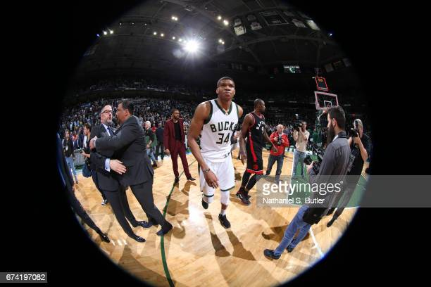 Giannis Antetokounmpo of the Milwaukee Bucks is seen after Game Six of the Eastern Conference Quarterfinals of the 2017 NBA Playoffs on April 27 2017...