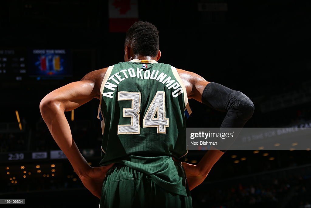 Giannis Antetokounmpo of the Milwaukee Bucks is seen during the game against the Brooklyn Nets on November 2 2015 at Barclays Center in Brooklyn New...