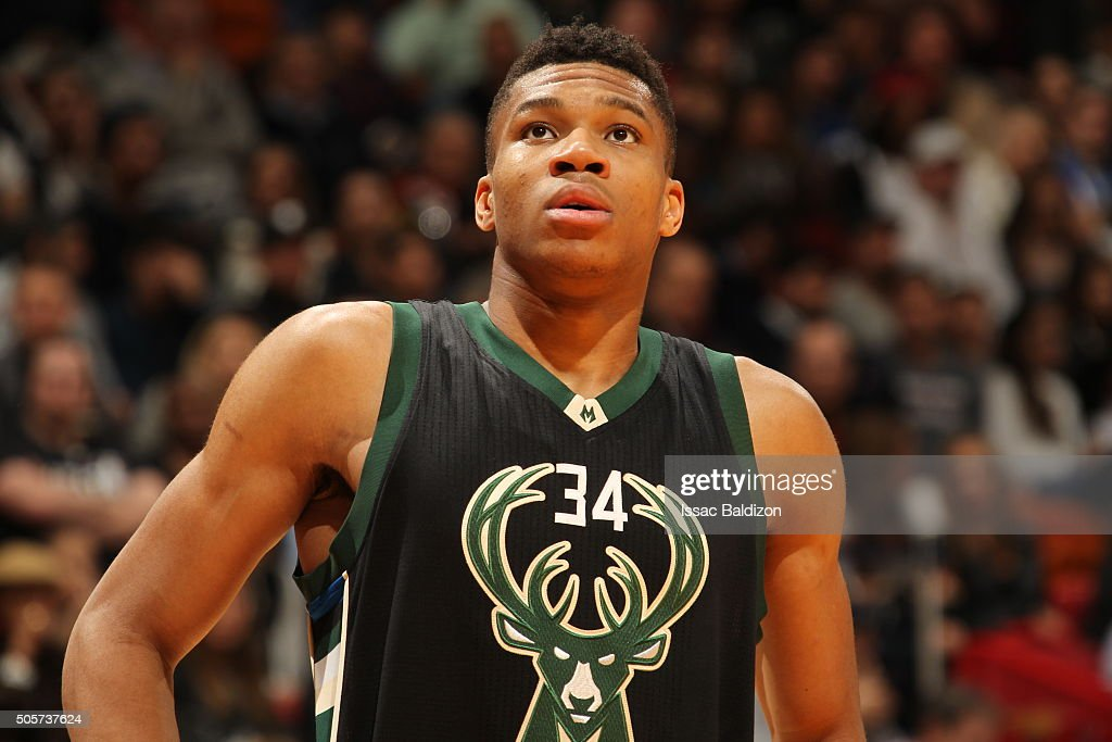 Giannis Antetokounmpo of the Milwaukee Bucks looks on during the game against the Miami Heat on January 19 2016 at AmericanAirlines Arena in Miami...