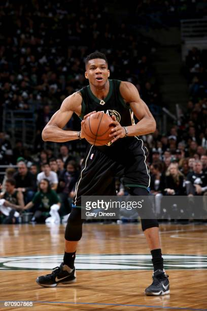 Giannis Antetokounmpo of the Milwaukee Bucks passes the ball against the Toronto Raptors during Game Three of the Eastern Conference Quarterfinals of...