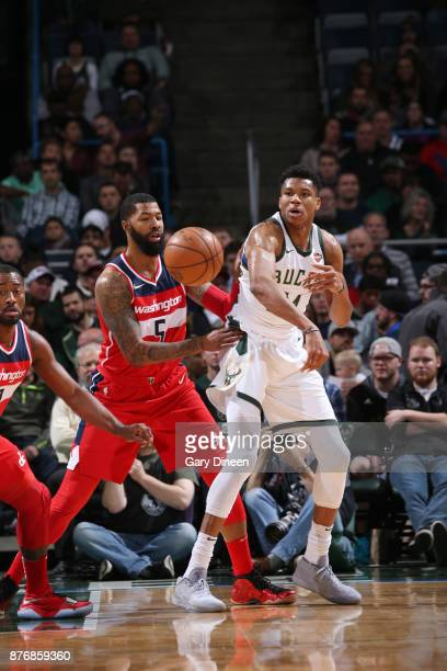 Giannis Antetokounmpo of the Milwaukee Bucks passes the ball against Markieff Morris of the Washington Wizards on November 20 2017 at the BMO Harris...