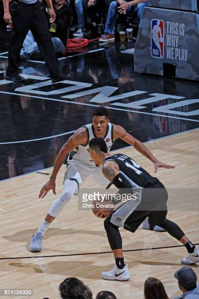 Giannis Antetokounmpo of the Milwaukee Bucks plays defense against the San Antonio Spurs on November 10 2017 at the ATT Center in San Antonio Texas...