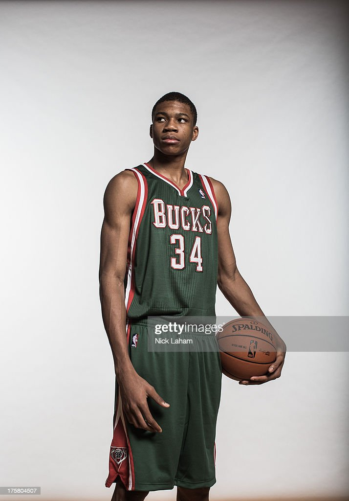 Giannis Antetokounmpo #34 of the Milwaukee Bucks poses for a portrait during the 2013 NBA rookie photo shoot at the MSG Training Center on August 6, 2013 in Greenburgh, New York.