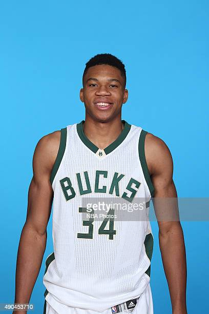 Giannis Antetokounmpo of the Milwaukee Bucks poses for a portrait during Media Day on September 28 2015 at the Orthopaedic Hospital of Wisconsin...