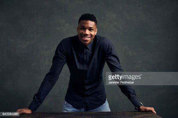 Giannis Antetokounmpo of the Milwaukee Bucks poses for portraits during the NBAE Circuit as part of 2017 AllStar Weekend at the RitzCarlton Hotel on...