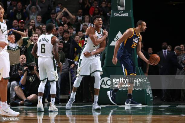 Giannis Antetokounmpo of the Milwaukee Bucks reacts during the game against the Utah Jazz on December 9 2017 at the BMO Harris Bradley Center in...