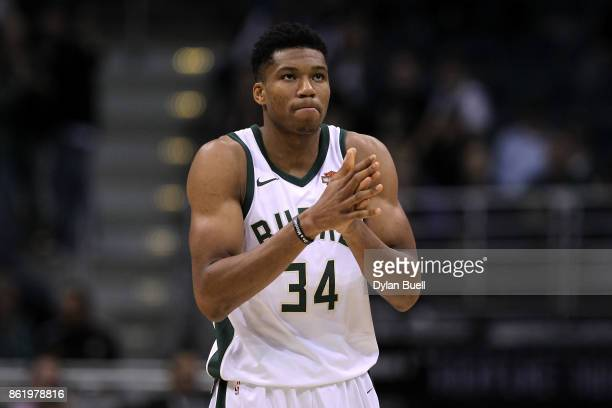 Giannis Antetokounmpo of the Milwaukee Bucks reacts in the first quarter against the Detroit Pistons during a preseason game at BMO Harris Bradley...