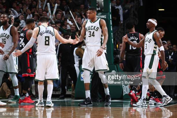 Giannis Antetokounmpo of the Milwaukee Bucks reacts to a play during Game Six of the Eastern Conference Quarterfinals of the 2017 NBA Playoffs on...