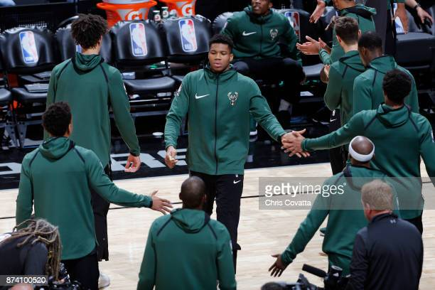 Giannis Antetokounmpo of the Milwaukee Bucks runs out before the game against the San Antonio Spurs on November 10 2017 at the ATT Center in San...