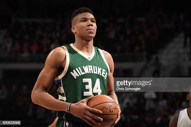 Giannis Antetokounmpo of the Milwaukee Bucks shoots a free throw against the Detroit Pistons on December 28 2016 at The Palace of Auburn Hills in...