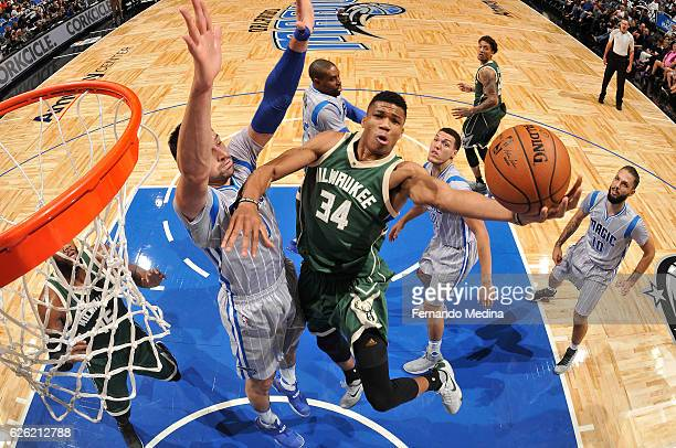 Giannis Antetokounmpo of the Milwaukee Bucks shoots a lay up against the Orlando Magic on November 27 2016 at Amway Center in Orlando Florida NOTE TO...
