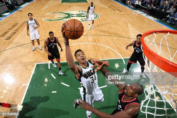 Giannis Antetokounmpo of the Milwaukee Bucks shoots a lay up during the game against the Toronto Raptors in Game Four during the Eastern Conference...