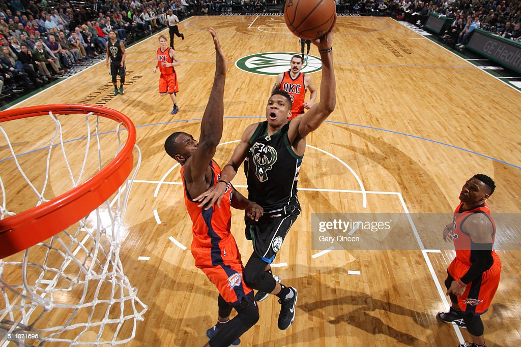 Giannis Antetokounmpo of the Milwaukee Bucks shoots the ball against the Oklahoma City Thunder on March 6 2016 at the BMO Harris Bradley Center in...