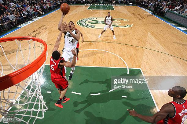 Giannis Antetokounmpo of the Milwaukee Bucks shoots the ball against the Toronto Raptors on March 15 2016 at the BMO Harris Bradley Center in...