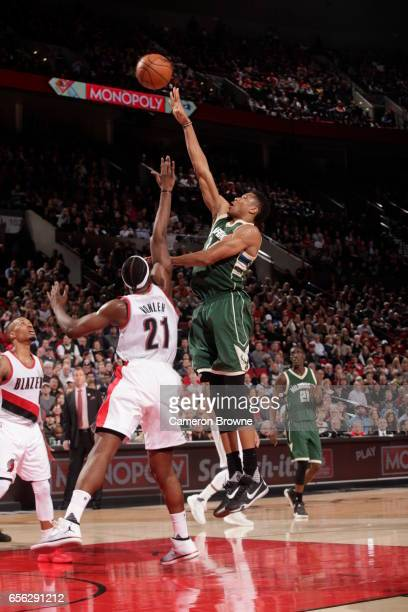 Giannis Antetokounmpo of the Milwaukee Bucks shoots the ball against the Portland Trail Blazers on March 21 2017 at the Moda Center in Portland...